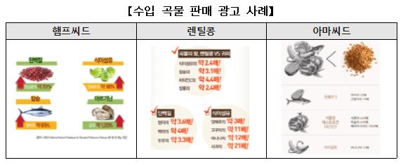 일부 수입산 곡물의 경우 다른 식품군의 영양성분 비교하여 수입산 곡물의 영양성분이 뛰어난 것으로 오인할 가능성 있음